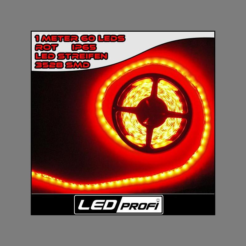 IP66 Rot 1m roter LED Streifen//Strip 60x 1 Chip SMDs//m 12V wasserfest