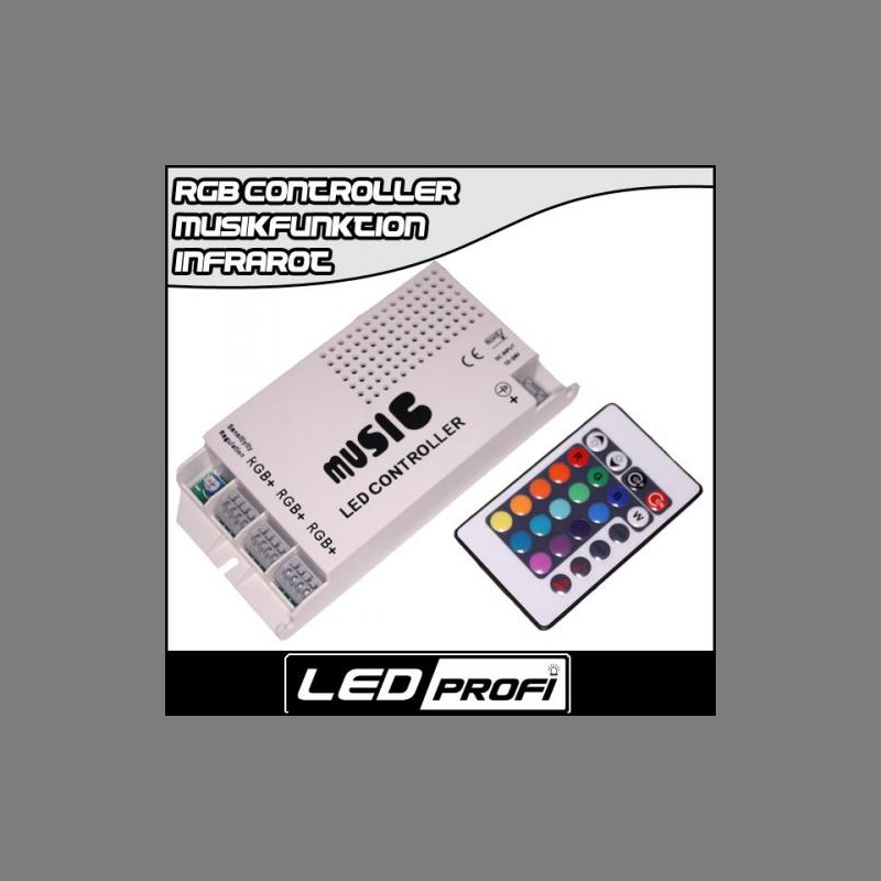 rgb led musik controller 24 tasten infrarot fernbedienung led streif. Black Bedroom Furniture Sets. Home Design Ideas