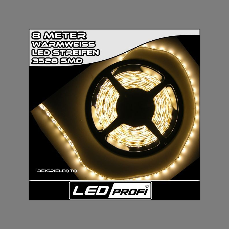 led strip streifen warmweiss 8 m 8m 480 x smd 3528 leds 12v leiste w. Black Bedroom Furniture Sets. Home Design Ideas